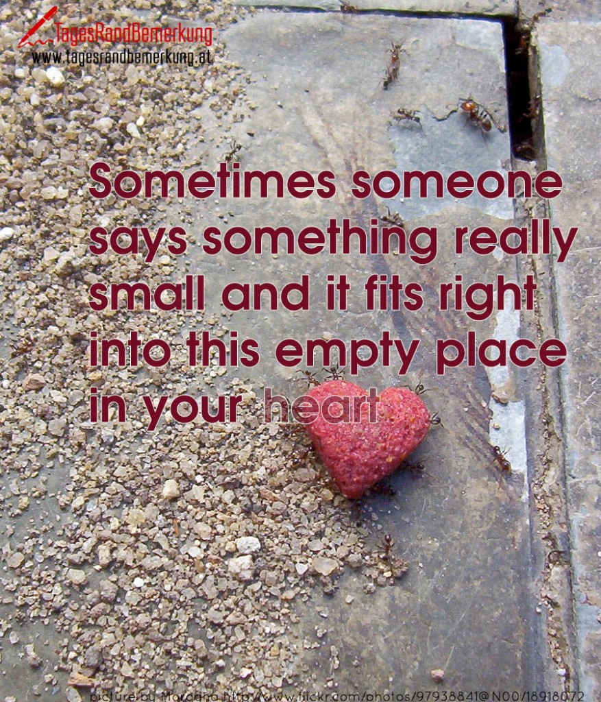 Sometimes someone says something really small and it fits right into this empty place in your heart