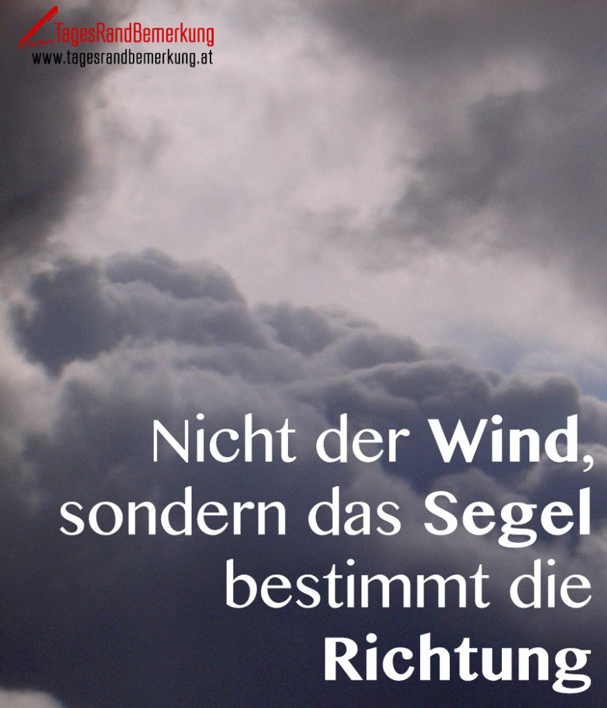 Nicht der Wind, sondern das Segel bestimmt die Richtung