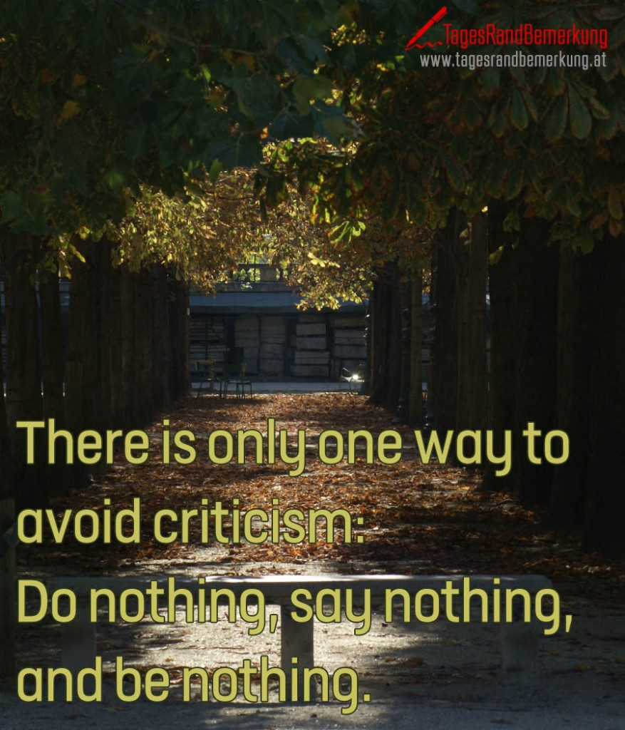 There is only one way to avoid criticism: Do nothing, say nothing, and be nothing.