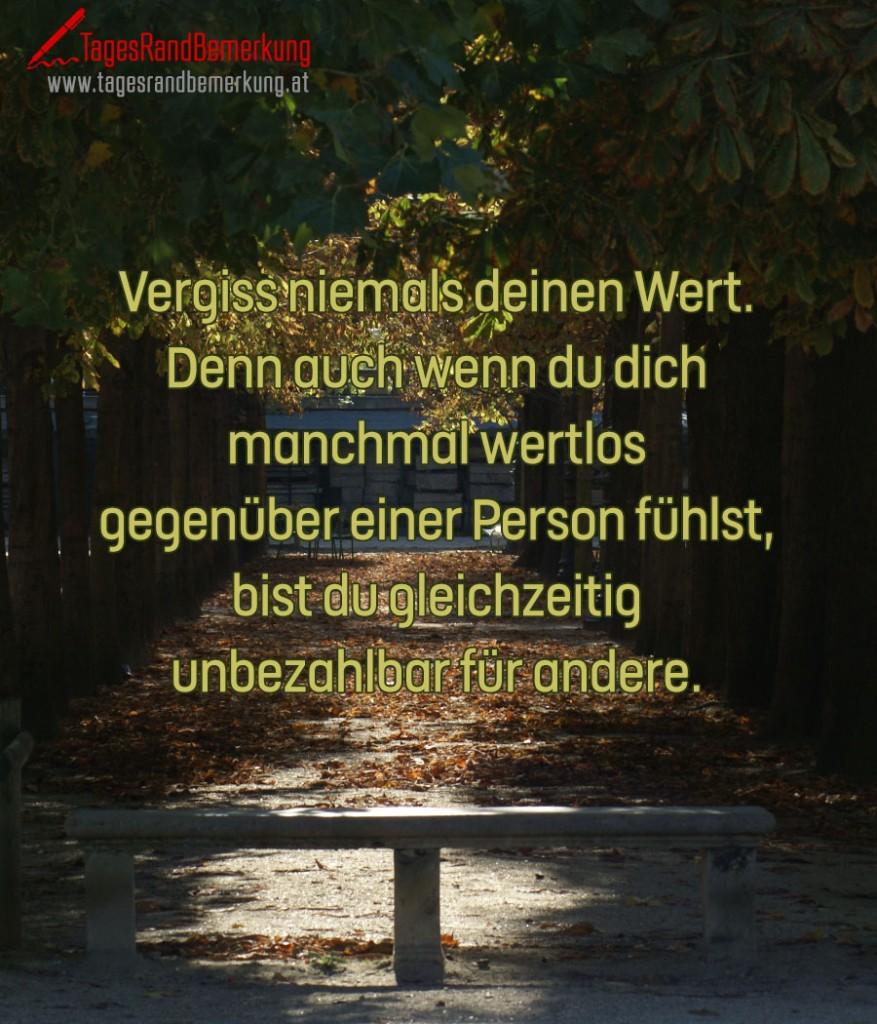Vergiss niemals deinen Wert. Denn auch wenn du dich manchmal wertlos gegenüber einer Person fühlst, bist du gleichzeitig unbezahlbar für andere.