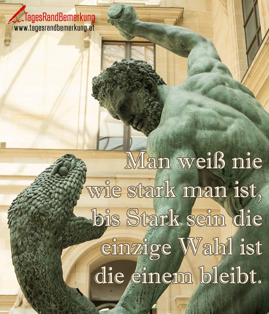 Man weiß nie wie stark man ist, bis Stark sein die einzige Wahl ist die einem bleibt.
