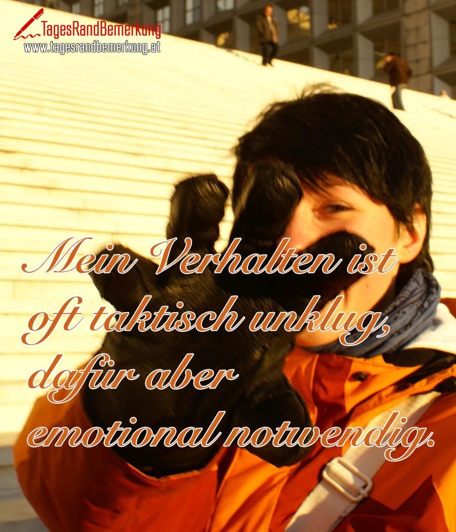 Mein Verhalten ist oft taktisch unklug, dafür aber emotional notwendig.