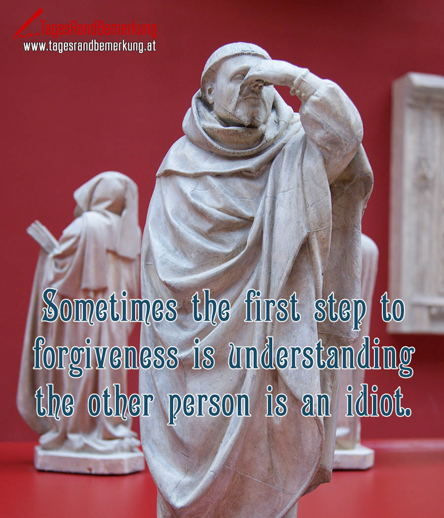 Sometimes the first step to forgiveness is understanding the other person is an idiot.
