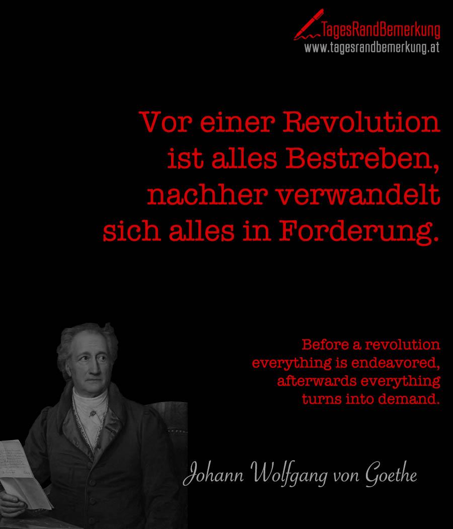 Vor einer Revolution ist alles Bestreben, nachher verwandelt sich alles in Forderung. | Before a revolution everything is endeavored, afterwards everything turns into demand.