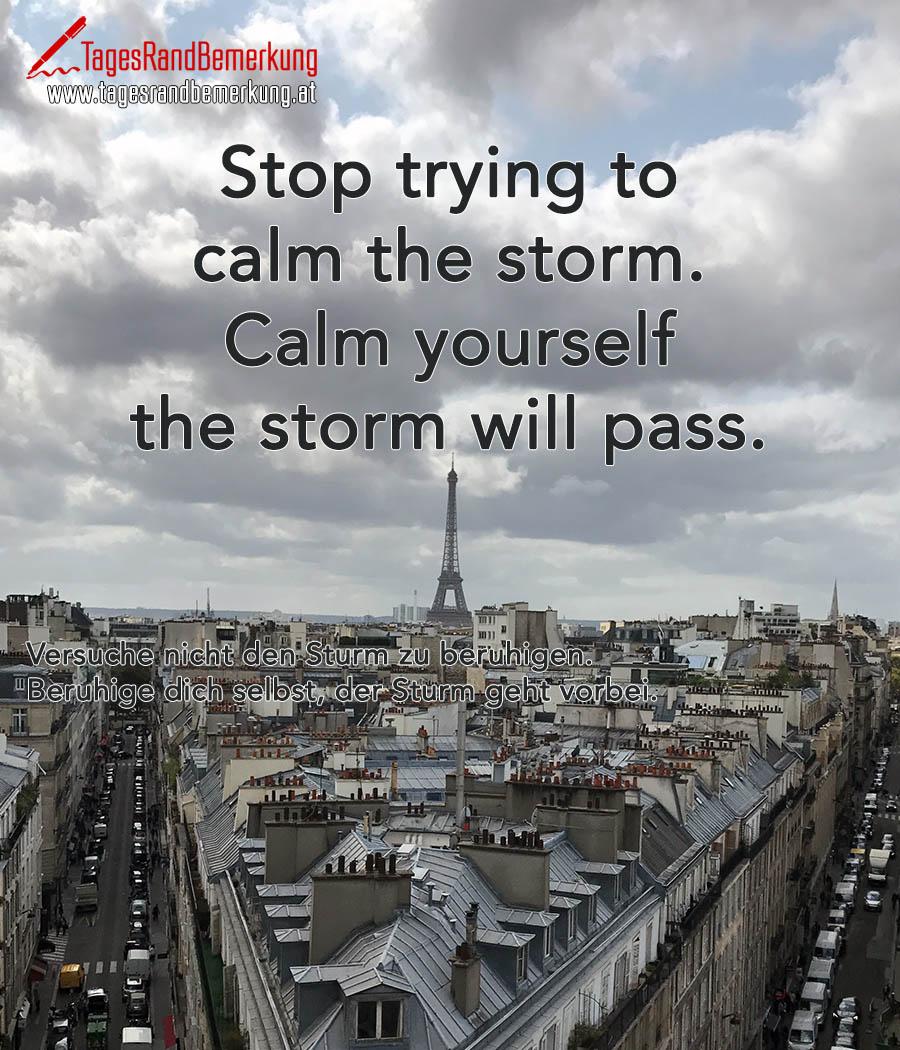 Stop trying to calm the storm. Calm yourself the storm will pass. | Versuche nicht den Sturm zu beruhigen. Beruhige dich selbst, der Sturm geht vorbei.