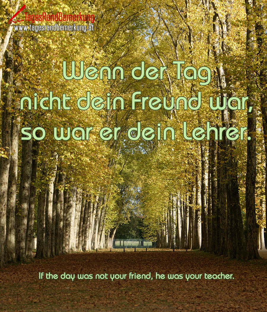 Wenn der Tag nicht dein Freund war, so war er dein Lehrer. | If the day was not your friend, he was your teacher.
