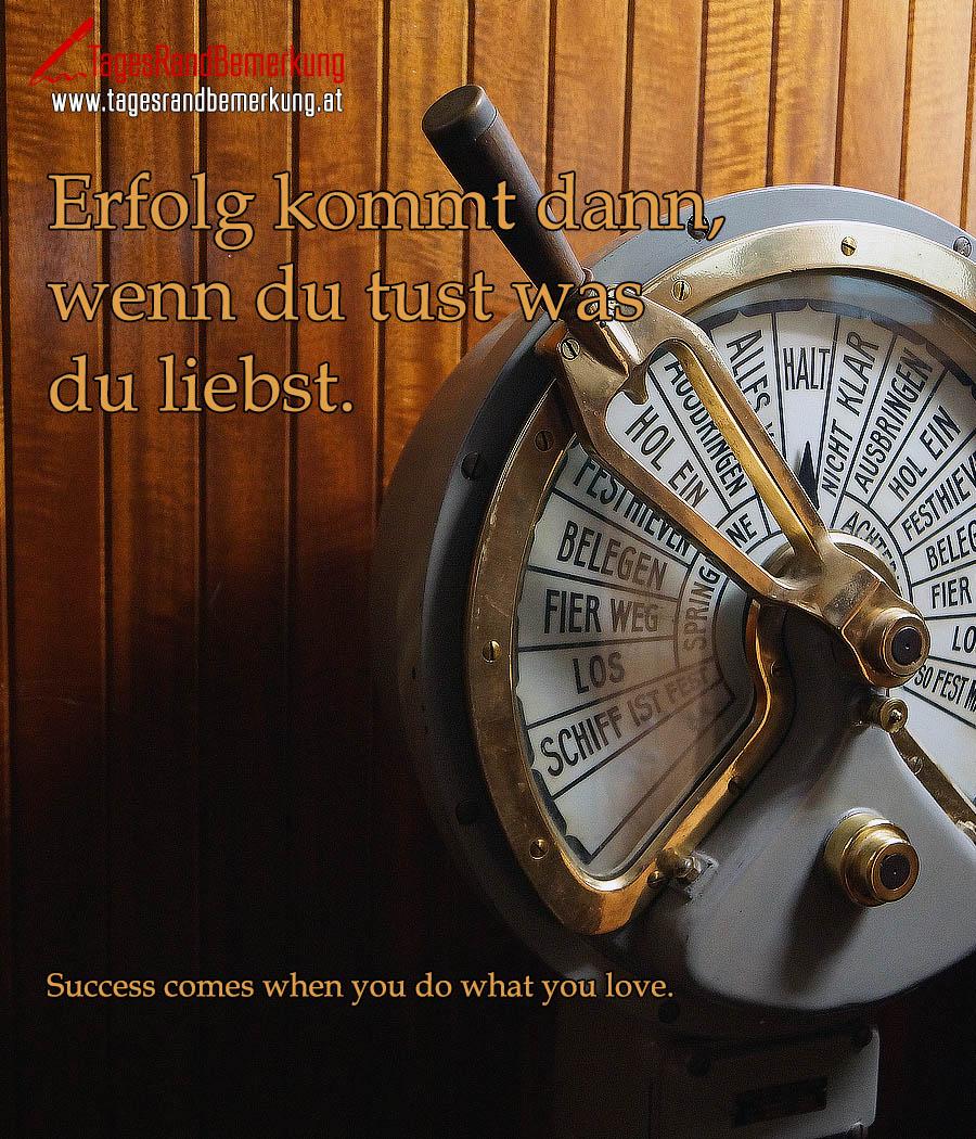 Erfolg kommt dann, wenn du tust was du liebst. | Success comes when you do what you love.