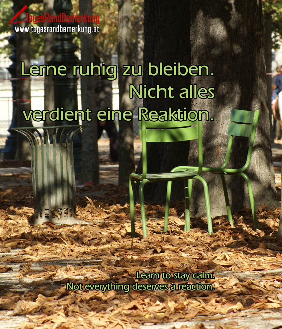 Lerne ruhig zu bleiben. Nicht alles verdient eine Reaktion. | Learn to stay calm. Not everything deserves a reaction.